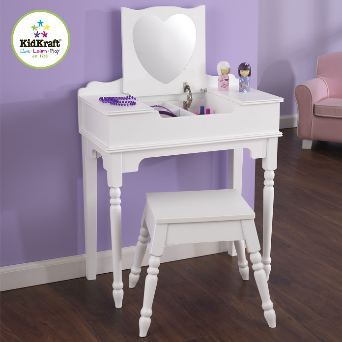 Sweetheart Vanity And Stool White Wooden Kidkraft Young
