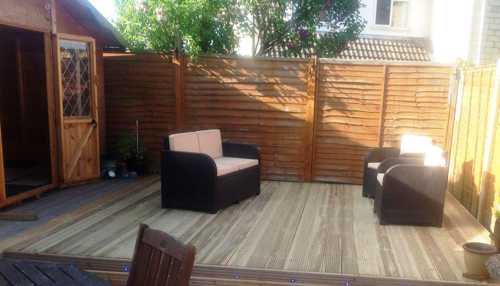 Timber deck kit 5m boards wooden garden for Garden decking kits on ebay
