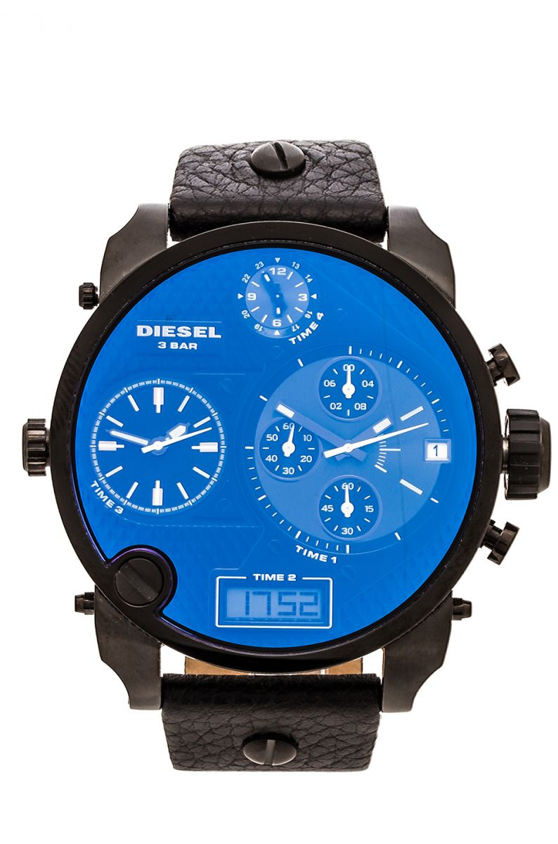 new mens diesel digital big daddy blue xl chrono4 time. Black Bedroom Furniture Sets. Home Design Ideas
